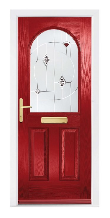 Red arched glass composite door - The Beeston from the Glazing Shop