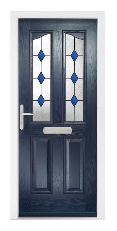 Black Composite door with attractive glazing from the Glazing shop