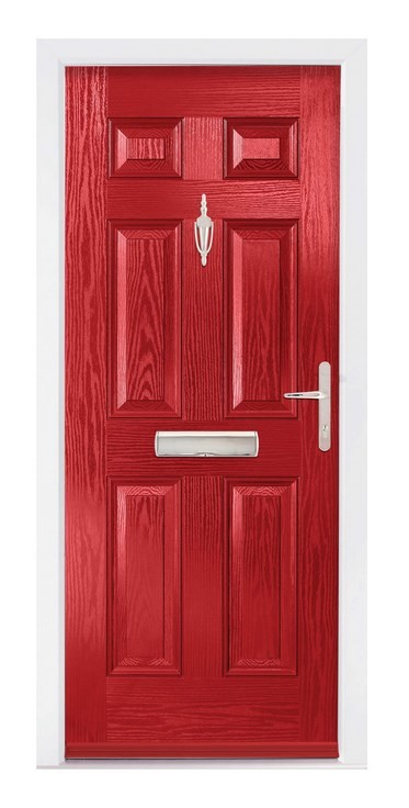 The Erewash composite door in red