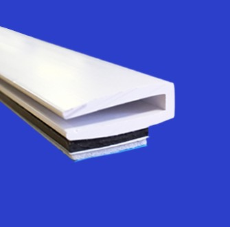 White PVC edging for secondary glazing with magnetic tapes attached