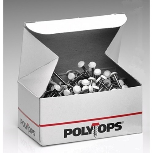 Box of white 50mm Polytop Pins - box of 100