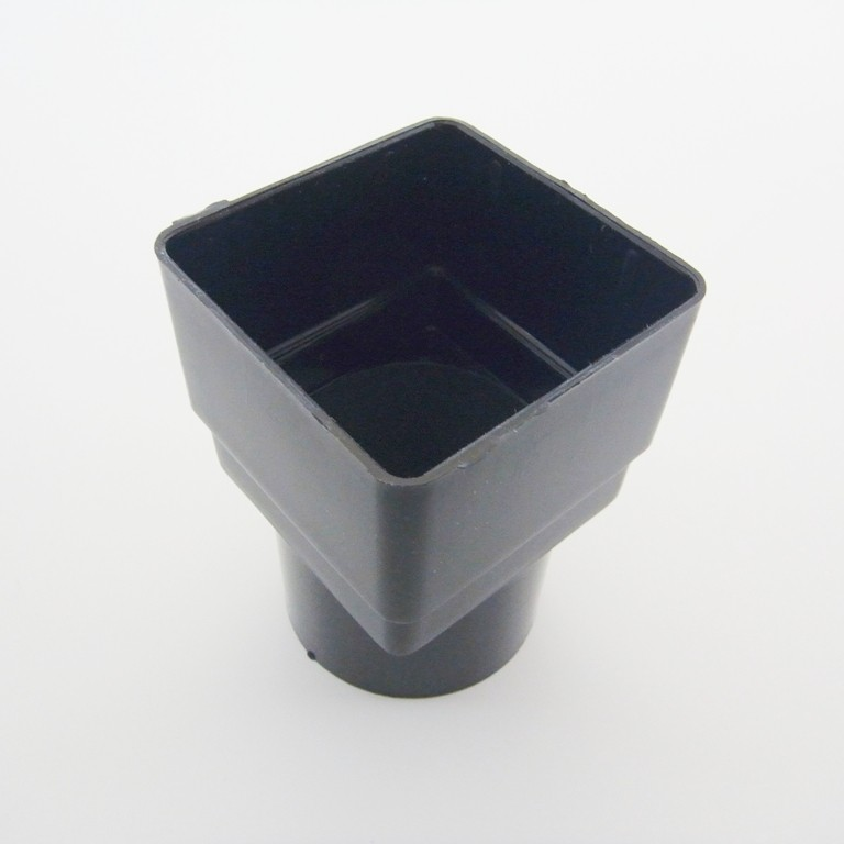 Square/Round Down Pipe Adaptor Black